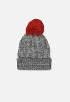 Cotton On - Winter knit beanie - grey & red