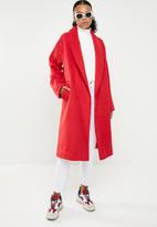 Missguided - Shawl collar midi coat - red