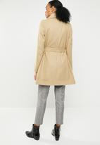 Missguided - Belted waterfall coat - camel