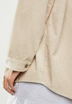 Missguided - Cord hooded shacket - neutral