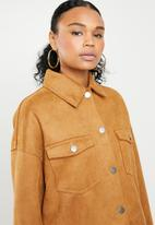 Missguided - Bonded suedette trucker - tan