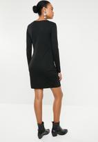Vero Moda - Mia long sleeve knot dress - black