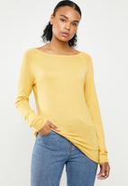 ONLY - Mila longline pullover knit - yellow