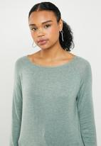 ONLY - Mila longline pullover knit - green