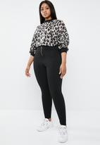 Superbalist - High waisted tregging with zip - black