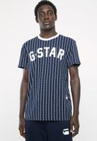 G-Star RAW - Wabash short sleeve tee - blue & white