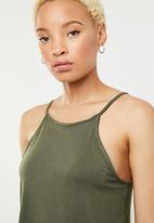 c(inch) - High neck crop top - khaki