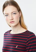 POLO - Shea stripe dress - navy & red