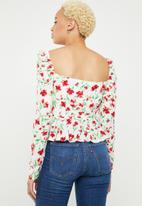 Missguided - Floral lace up front square neck peplum top - white & red