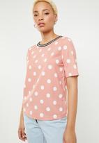 c(inch) - Contrast trim T-shirt - pink