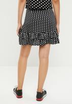 Missguided - Polka dot frill skirt - black