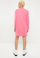Missguided - Oversized long sleeve zip T-shirt dress - pink