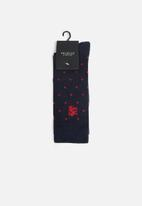 Pringle of Scotland - Logan dot & check 2 pack socks - navy & red