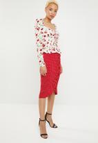 Missguided - Polka dot frill midi skirt - red