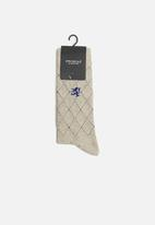 Pringle of Scotland - Harvey raker socks - beige & navy