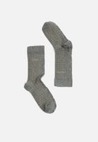 Pringle of Scotland - Logan dot & check 2 pack socks - charcoal & khaki