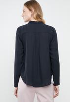 Vero Moda - Manja v-neck shirt - navy