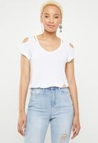 SOVIET - Ladies cold shoulder tee - white