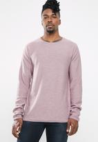 Jack & Jones - Slub knit crew neck sweatshirt - purple