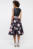 edit - Colour block satin dress - black
