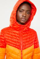 ONLY - Demi blocked hooded jacket - orange & pink