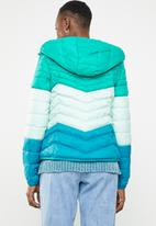 ONLY - Demi blocked hooded jacket - green & blue