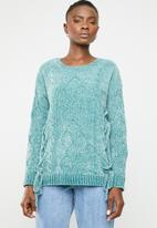 Tokyo Laundry - Caphis cable knit chenille jersey - blue