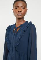 Brave Soul - Christie ruffle sleeve dress - navy