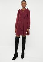 Brave Soul - Christie ruffle sleeve dress - burgundy