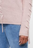 Tokyo Laundry - Jade lace up detail jersey - pink