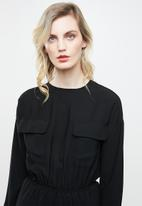 Noisy May - Nina long sleeve utility jumpsuit  - black