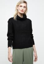 ONLY - Baskina long sleeve roll neck pullover top - black