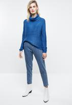 ONLY - Baskina long sleeve roll neck pullover top - blue