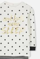Cotton On - Shae girls long sleeve waffle pyjama set - black & white