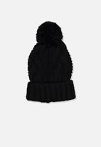 Cotton On - Hooked on you cable beanie - black