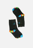 Brave Soul - Printed 5 pack socks - black