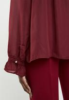 edit - Blouse with frill neckline - burgundy