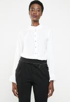 edit - Blouse with frill neckline - white