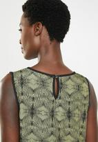 edit - Sleeveless printed top - green & black