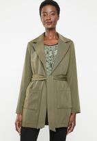 edit - Belted long sleeve blazer - green