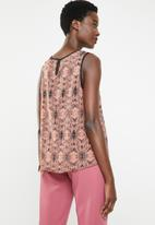 edit - Sleeveless printed top - pink  & black