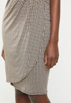 edit - Wrap front drape dress - tan & black