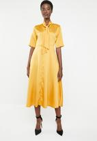 edit - Kitty bow fit and flare dress - yellow