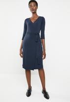 edit - 3/4 Sleeve wrap dress - navy