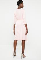 edit - 3/4 Sleeve wrap dress - pale pink