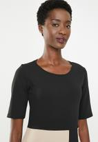 edit - Short sleeve pencil dress - black & beige