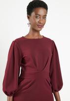 edit - Lantern sleeve dress - burgundy