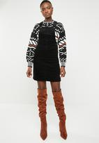 New Look - Cord dungaree dress - black