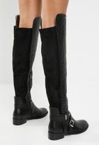 Plum - Over the knee flat boot - black