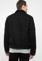 Superbalist - Sherpa full lined denim trucker jacket- black